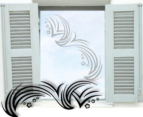 Fenstertattoo ~ Wellen mit Blümchen ~ glas029-80x28 cm 610032 Aufkleber für Fenster, Glastür und Duschtür aus Glas, Fensterbild, wasserfeste Glasdekorfolie in Sandstrahl - Milchglas Optik