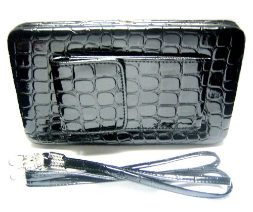 New Black Alligator Clutch Flat Wallet Purse w/Cell Phone Case