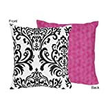 Hot Pink, Black and White Isabella Decorative Accent Throw Pillow by Sweet Jojo Designs