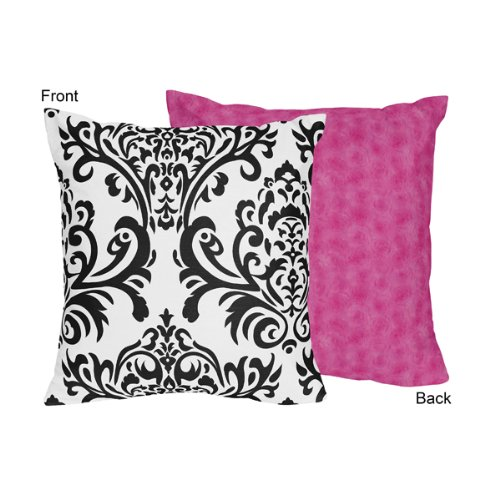 Hot Pink, Black And White Isabella Decorative Accent Throw Pillow By Sweet Jojo Designs front-230171
