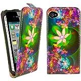 kwmobile Étui en cuir synthétique chic pour Apple iPhone 4 / 4S avec fermeture aimantée pratique en Vert Rose. Motif fleurs Plusieurs looks disponibles