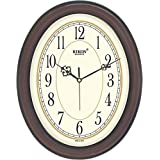 Rikon Quartz Plastic Oval Shape 27 Cm X 34 Cm Fancy Premium Home Decor Wall Clock (Brown Ivory) For Home And Office