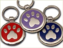 Pet ID Tag - Paw Print - Custom engraved cat and dog ID tags. Jewelry that ensures pet safety. Available in 10 colors and 9 designs.