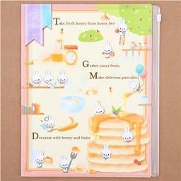 cute yellow pink honey bunny 6-pocket A4 /A3 plastic file folder