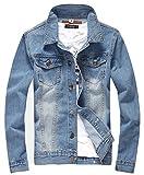 XueYin Men's Denim Jacket Slim Fit(Light blue,M size)
