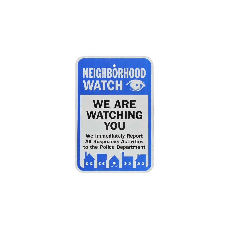 SmartSign 3M Engineer Grade Reflective Sign, Legend Neighborhood Watch We Are Watching You with Graphic, 18 high x 12 wide, Black/Blue on White