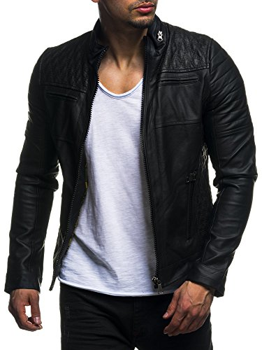 leif nelson herren jacke kunstleder biker geteppt slim fit modern freizeit schwarz ln511 gr e. Black Bedroom Furniture Sets. Home Design Ideas