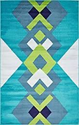 Modern Geometric 5 feet by 8 feet (5\' x 8\') Metro Turquoise Contemporary Area Rug