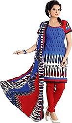 MELLUHA Blue Printed Cotton Dress Material