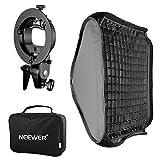 Neewer 32x32 inches Bowens Mount Softbox with Grid and S-type Flash Bracket for Nikon SB-600, SB-800, SB-900, SB-910, Canon 380EX, 430EX II, 550EX, 580EX II, 600EX-RT, Neewer TT560 Flash Speedlite
