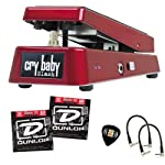 """DUNLOP SW95 Cry Baby Slash Signature Wah Wah Guitar Effects Pedal BUNDLE With ZORRO Series DUNLOP Sample Pick Pack, Dunlop DEN 1046 Electric Nickel Medium Guitar Strings 10-46 & 2 Patch Cables (6"""") from DUNLOP"""