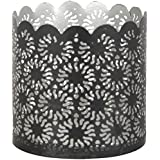 CONJURE Iron Tealight Candle Holder (7 Cm X 7 Cm X 7 Cm, Silver And Black)