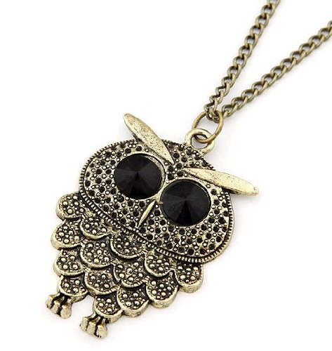 Jewellery Chic Boutique Retro Kitsch Vintage Bronze Black Stone Wise Small Dotted Owl Jewellery Necklace + Gift Bag