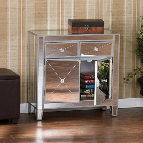 Image of California Look Table Mirror Finish Silver Wood Cabinet Console Bureau (OC9167R)