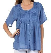 Sakkas Button Down Embroidered Short Sleeve Semi-Sheer Gauzy Cotton Top / Blouse