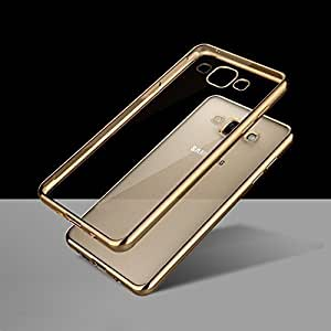 IDEAL Meephone Electroplated Edge Ultra Thin TPU Flexible Back Case Cover for Samsung Galaxy A5 (Golden) - Transparent with Gold Edges