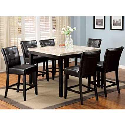 Marion Contemporary Style Espresso Finish 5-piece Faux Marble Top Counter Height Dining Table Set