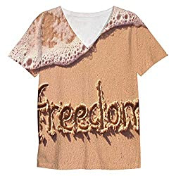 Snoogg Freedom Mens Casual V Neck All Over Printed T Shirts Tees