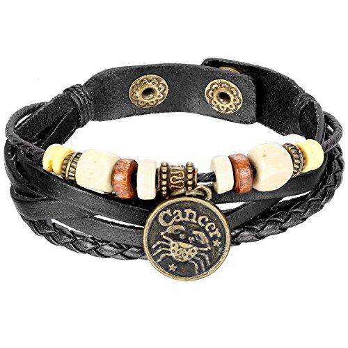 Jewelrywe Gioielli Bracciale da Uomo Donna, Cancer Braccialetto Ampia, Punk Rock, Adatto 20.5cm, Pelle Lega, Nero (con Borsa Regalo)