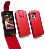 FLASH SUPERSTORE LG GM360 VIEWTY SNAP PREMIUM PU LEATHER TEXTURED FLIP CASE/COVER/POUCH DARK RED AND LCD SCREEN PROTECTOR