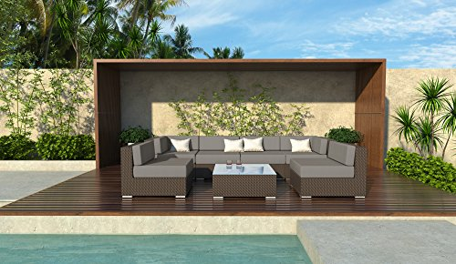 7pc Damen Modern Outdoor All Weather Wicker Rattan Patio Set Sectional Sofa Furniture (Taupe)