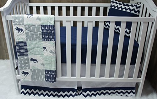 Baby Boy / Girl Chevron , Baby Bedding , Woodlands , Moose , Crib Bedding , Nursery Room , Babylooms
