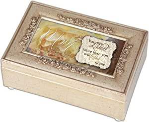cottage garden mom loved champagne silver petite rose music box jewelry box plays