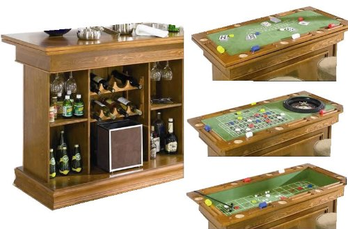 Attractive We Are Actually Ecstatic As A Way To Release Outstanding Coaster All In One Game  Table/Bar Unit With Wine Shelves, Includes, Roulette, Blackjack And Craps,  ...