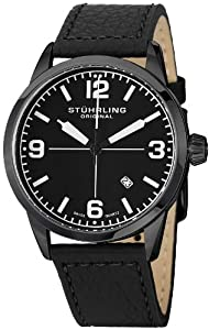 "Stuhrling Original Men's 449.33551 ""Aviator Tuskegee"" Black Ion-Plated Watch with Black Leather Strap"