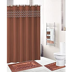 Rust copper 18 piece bathroom set fabric for Entire bathroom sets