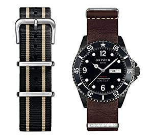 Oxygen Moby Dick Black 40 Unisex Quartz Watch with Black Dial Analogue Display and Multicolour Leather Strap EX-D-MBB-40-2S