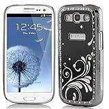 Pandamimi Deluxe Black Steel Aluminum Chrome Bling Crystal Diamond Rhinestone Hard Case Skin Cover for Samsung i9300 Galaxy S3