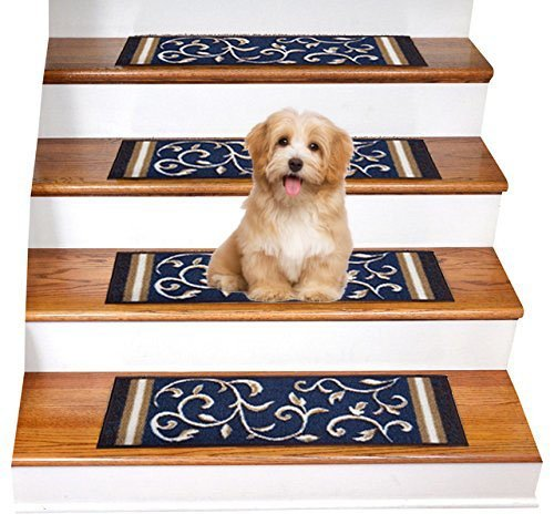 """Gloria Rug Skid-Resistant Rubber Backing Gripper Non-Slip Carpet Stair Treads - Washable Stair Mat Area Rug (SET OF 7), 8.5"""" x 26"""", Navy Blue Floral Design"""