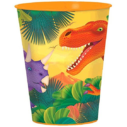 Dashing Prehistoric/Dinosaur Plastic Party Cup Birthday Party Favors, 16 oz, Multicolored