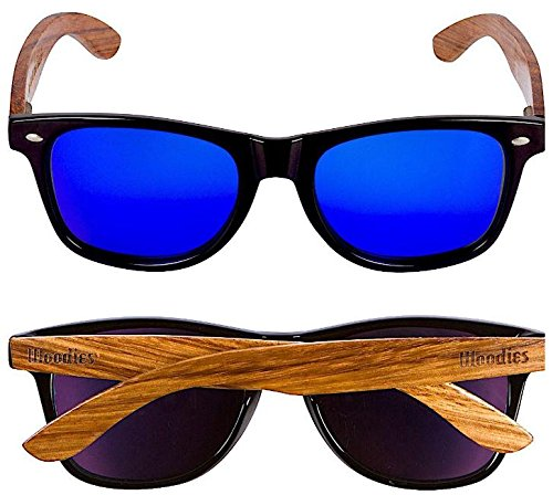e2046ece71 WOODIES Bamboo Wood Sunglasses in Vintage Cat Eye Style with Black Plastic  Frame and Polarized .