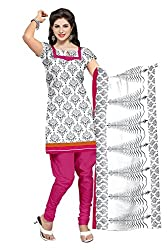 Lovely Look Latest White & Black Printed Dress Material