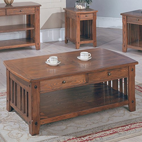 Parker House Parker House Mission Rectangular Cocktail Table With Drawers, Oak, Ash, 50 Inches