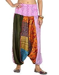 Rajrang Womens Silk Trousers ,Multi-Coloured ,Large