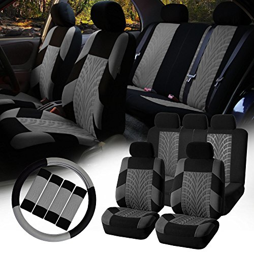 FH GROUP FH-FB071115 Complete Set Travel Master Seat Covers Airbag Ready & Rear Split with Steering Wheel Cover, Seat Belt Pads Gray- Fit Most Car, Truck, Suv, or Van (94 S10 Steering Wheel compare prices)