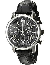 Thomas Earnshaw Men's 'Longcase 43' Swiss Quartz Stainless Steel And Black Leather Dress Watch (Model: ES-0016...