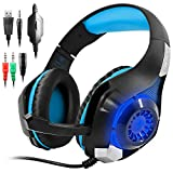 GM-1 Gaming Headset for PS4 Xbox One PC Tablet Cellphone, Stereo LED Backlit Headphone with Mic by AFUNTA-Blue