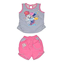 Baby Bucket Premium Summer suit Minnie mouse Print on Sleeveless Top with Half Pant (Pink, 18-24 Years)