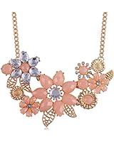 BeOne Temperamental Bohemia Style Flower Shaped CZ Rhinestone Bubble Bib Choker Statement Chain Necklace