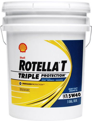 Shell Rotella 550019916 T Triple Protection 15W-40 Heavy Duty Engine Oil -1 - 5 Gallon Pail (Motor Oil Shell 15w40 compare prices)
