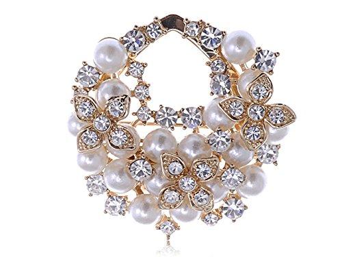 Elegant Faux Pearl Clear Crystal Rhinestone Flower Cluster Gold Tone Pin Brooch