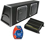 """Kicker Dual 10"""" Loaded Square Subwoofer Sub Box 600W Package w/ CX300.1 Amp Kit"""