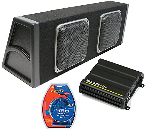 "Kicker Dual 10"" Loaded Square Subwoofer Sub Box 600W Package W/ Cx300.1 Amp Kit"