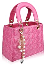 Womens Pink Quilted Tote Grab Handbag with Charm