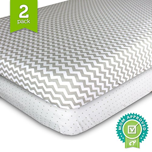 Ziggy-Baby-Jersey-Cotton-Pack-N-Play-Sheet-Set-GreyWhite-2-Pack
