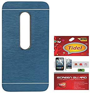 Tidel Durable Aluminium Brushed Metallic Back Cover For Motorola Moto G3 3rd Genaration (Blue) With Tidel Screen Guard